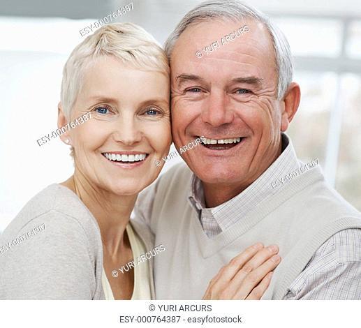 Closeup of a happy romantic older couple