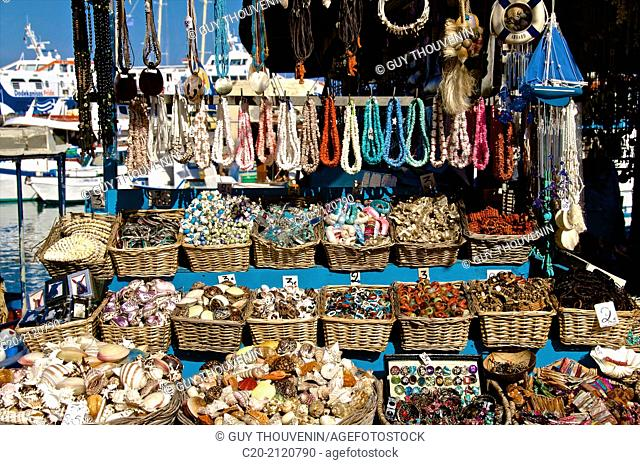 Shells and shell jewels and necklaces for sale on Rhodes town harbor, Rhodes island, Greece