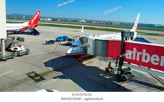 loading of an airplane with luggage and passengers, Spain, Palma