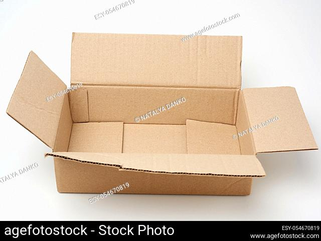 open empty rectangular box made of brown corrugated cardboard on a white background, top view