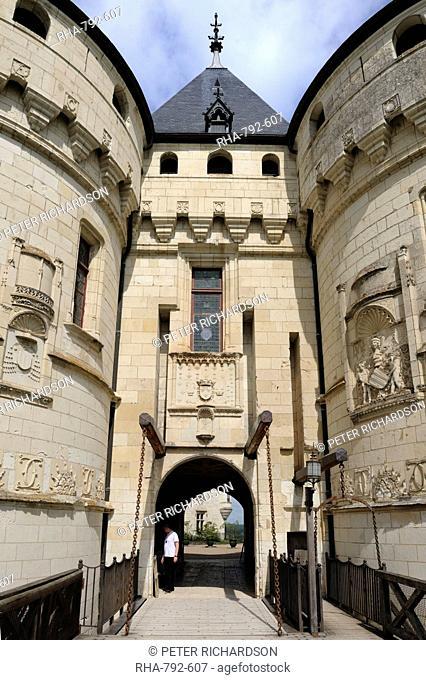 Ornate stone carvings on the entrance to Chateau de Chaumont, Chaumont Sur Loire, Loir-et-Cher, Loire Valley, Centre, France, Europe