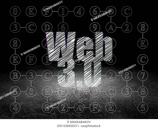 Web design concept: Glowing text Web 3.0 in grunge dark room with Dirty Floor, black background with Scheme Of Hexadecimal Code, 3d render