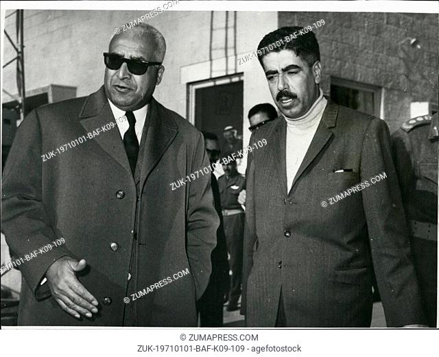 Jan. 01, 1971 - Jordan Premier Bids Farewell To Mr. Ladgham: Mr. Wasfi Tell, the Prime Minister of Jordan (right), pictured at Amman Airport recently when he...