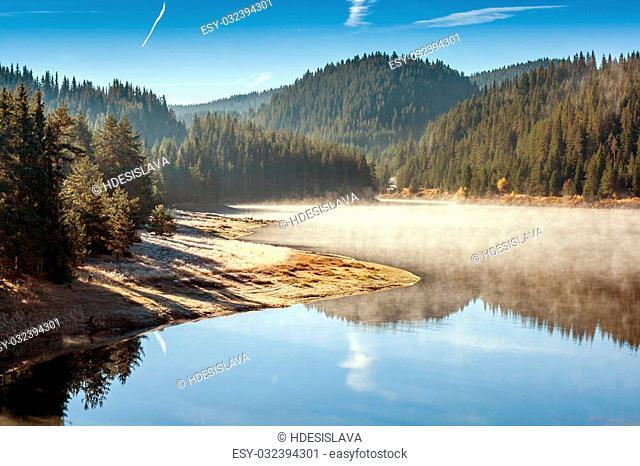 Autumn view of Golyam Beglik Reservoir, Rhodopes Mountain, Bulgaria