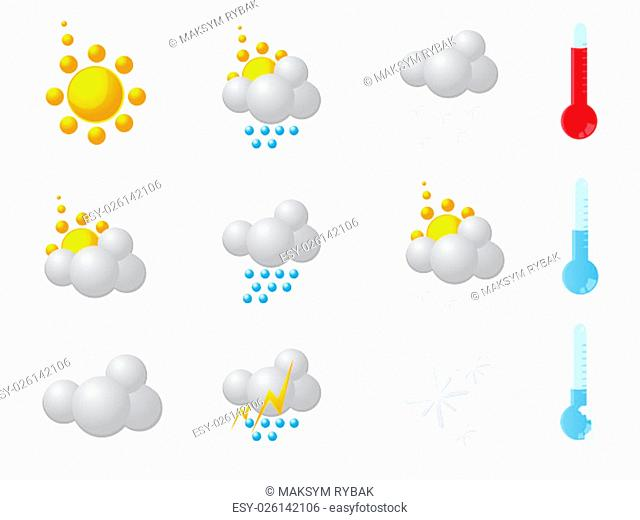 Weather vector icon set for web in eps