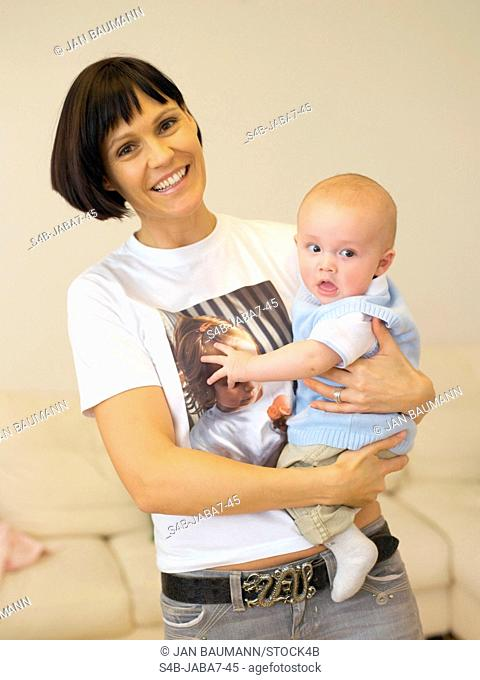 Mother and baby at home, Munich, Bavaria, Germany