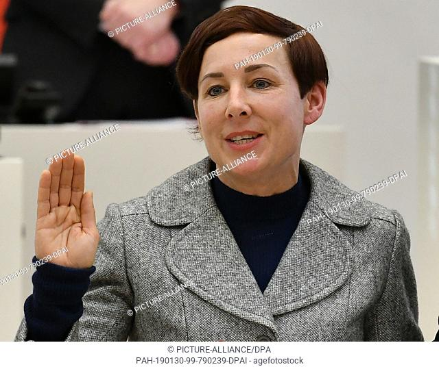 30 January 2019, Brandenburg, Potsdam: Author Juli Zeh takes her oath of office as a constitutional judge at the beginning of the state parliament session