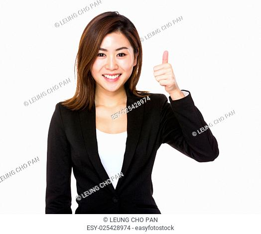 Asian businesswoman with thumb up