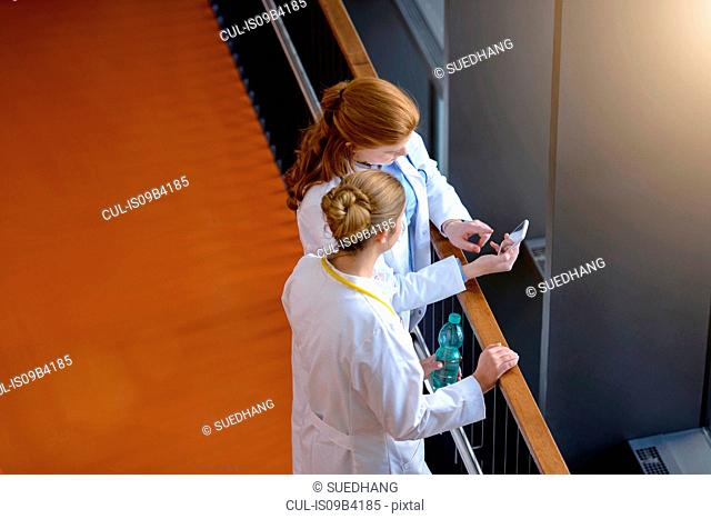 High angle view of two female doctors on hospital balcony looking at smartphone