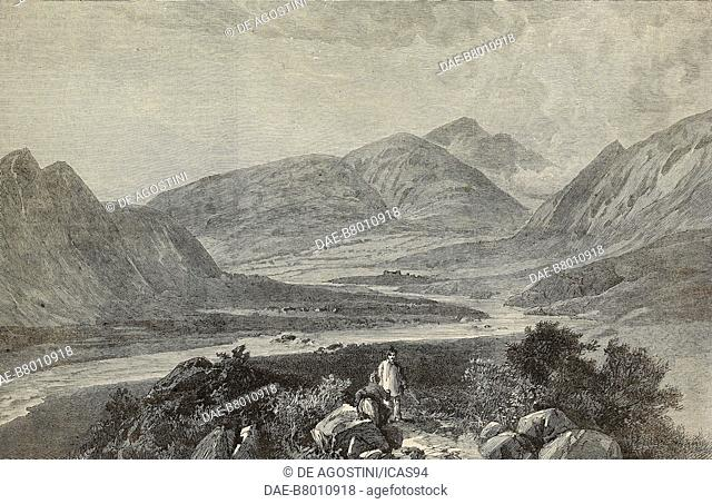 View of the Indus Valley with the Black Mountain in the distance, Hazara, Pakistan, engraving after a sketch by G N Cave, from The Illustrated London News