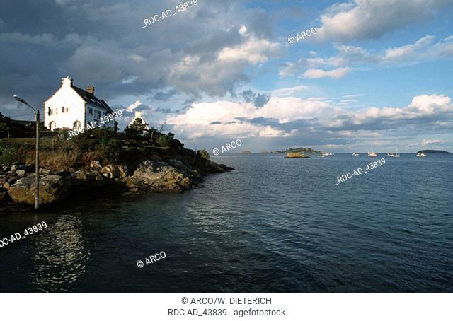 House at the coast Pors Even at Paimpol Cotes d'Armor Brittany France