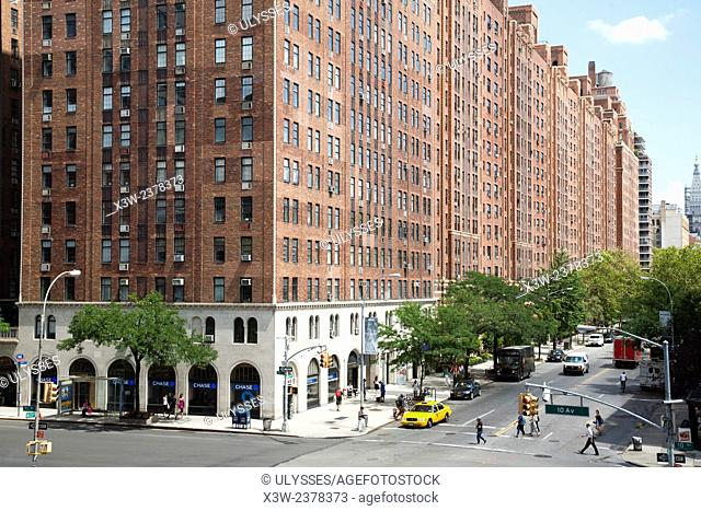 historical building, 10th avenue and W23th street, Chelsea, Manhattan, New York, USA, America