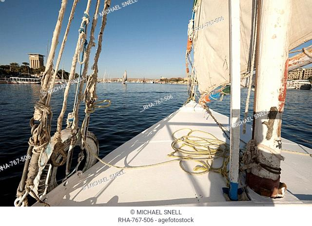 Feluccas on the Nile River, Aswan, Egypt, North Africa, Africa