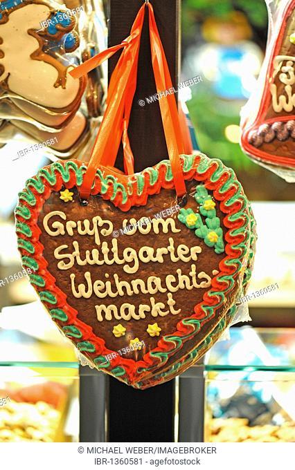 Gingerbread heart with inscription Gruss vom Stuttgarter Weihnachtsmarkt, greeting from Stuttgart's Christmas market, Christmas market, Stuttgart