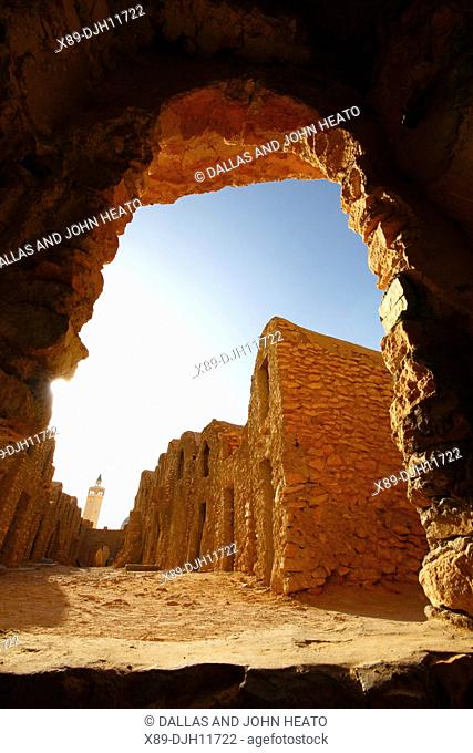 Africa, Tunisia, Ksar Hadada, Restored Berber Granary with Granary Niches known as Ghorfas