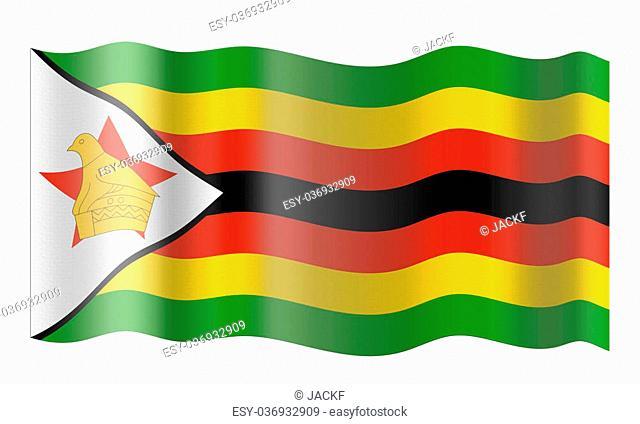 Flag of the Republic of Zimbabwe. Illustration over white background