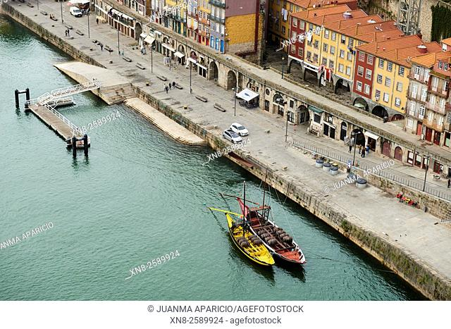 Aerial View of Pier and Rabelos Boats, Oporto, Portugal, Europe