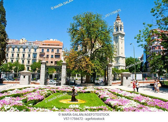 The Retiro park and San Manuel y San Benito church. Madrid, Spain