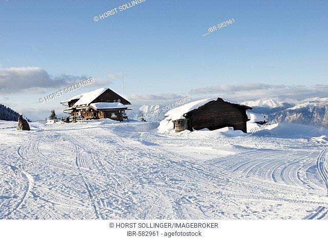 Wooden cabins at the Marchbach Joch, Austria