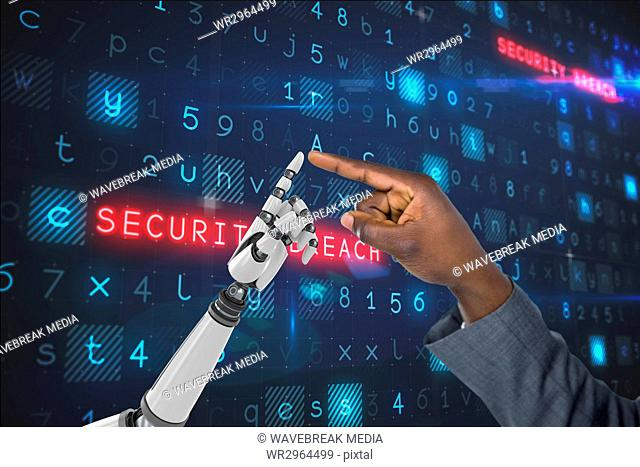 human hand is touching robot hand against code computer background