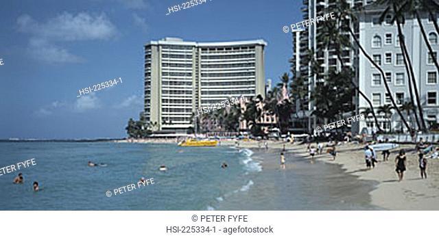 travel, United States of America, USA, U.S.A., Pacific Island, Hawaii, Honolulu, Oahu, Waikiki, beach, shore, coast, ocean, seaside, building, buildings