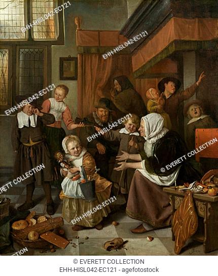The Feast of St. Nicholas, by Jan Steen, 1665-68, Dutch painting, oil on canvas. Good children receive gifts from the Saint