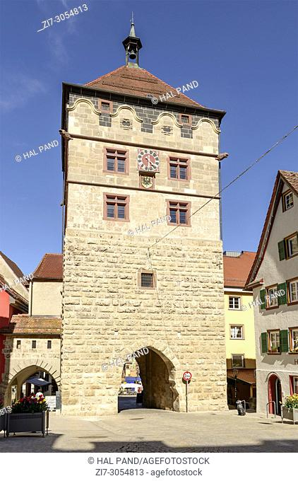 stone medieval entrance tower, shot in bright spring light at Rottweil, Baden Wuttenberg, Germany