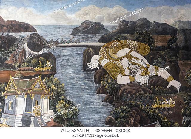 Paintings at the temple of the Emerald Buddha Wat Phra Kaeo, Grand Palace, Bangkok, Thailand