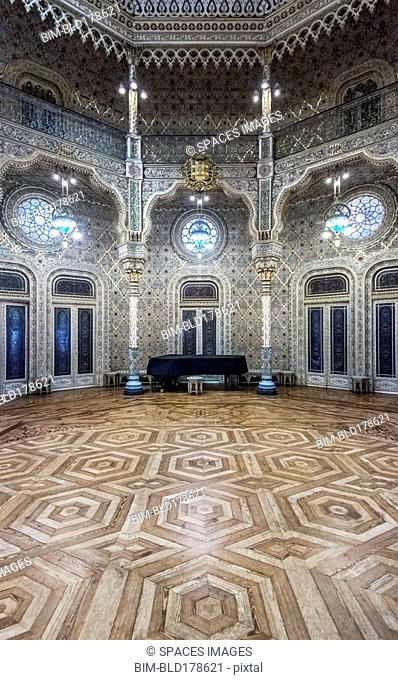 Ornate tiles in historical room, Porto, Porto, Portugal