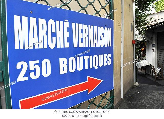 Paris, France, sign of Marché Vernaison