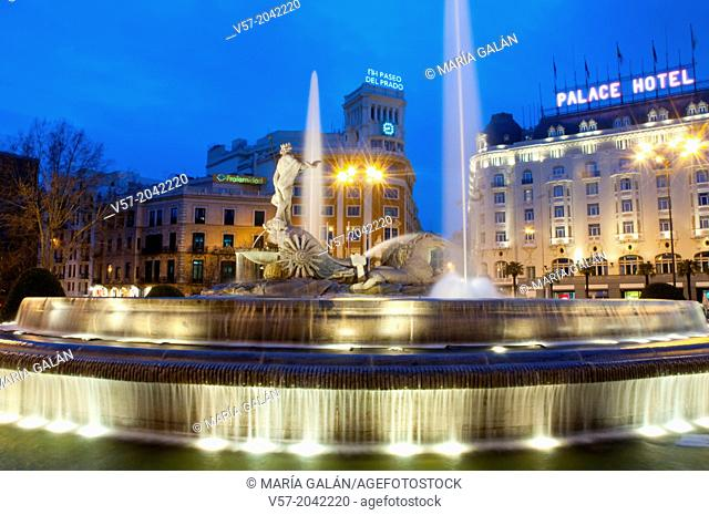 Neptuno fountain, night view. Madrid, Spain