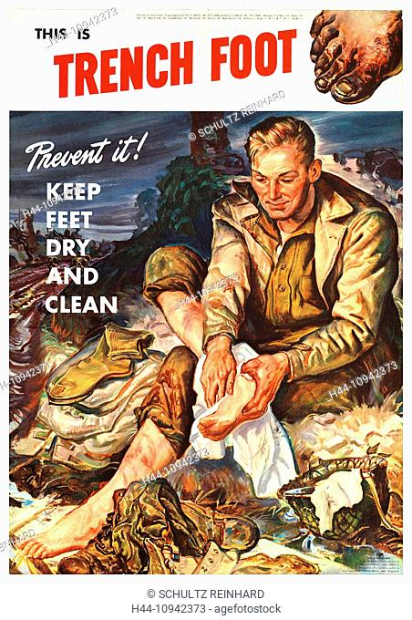 World War II, Second World War, world war, war, poster, Propagana, propaganda poster, USA, American, trench, hygiene, foot, cleanness, precaution, 1944