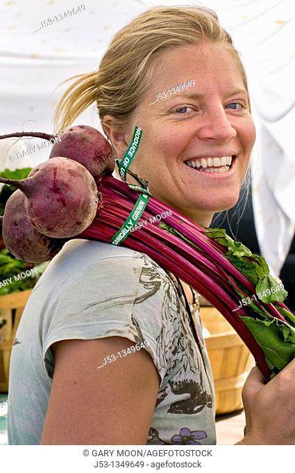 Shopper at farmers' market, downtown Arcata, California