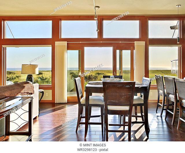 Ocean view through window in dining room