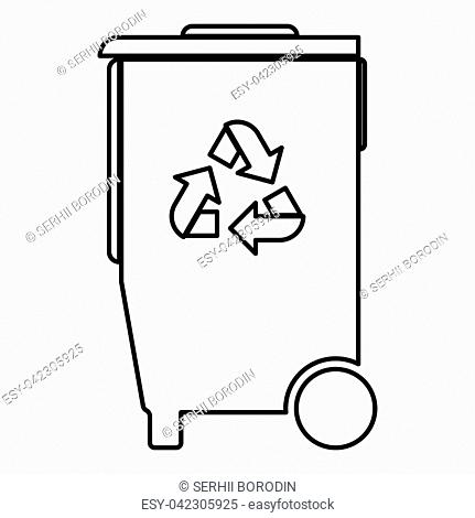 Refuse bin with arrows utilization the black color icon vector illustration