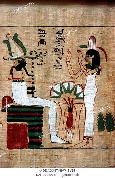 Osiris upon his throne, scene from the Book of the Dead, funerary papyrus. Egyptian civilisation. Detail.  Cairo, Egyptian Museum