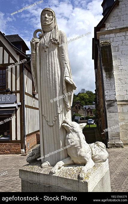 Statue of Austreberthe de Pavilly, commune of Pavilly, France. . Austreberthe de Pavilly (Sainte Austreberthe) (born in 630 in Thérouanne