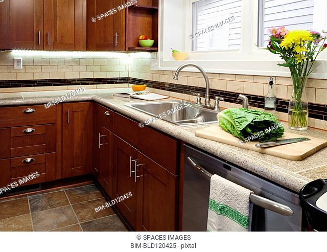 Sink, dishwasher and cabinets in kitchen