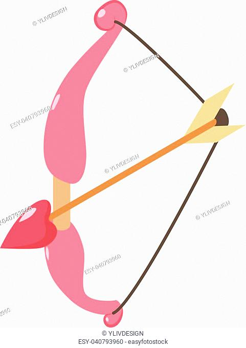 Bow and arrow icon. Isometric illustration of bow and arrow vector icon for web
