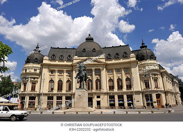 Central University Library of Bucharest and equestrian statue of Carol I, Revolution Square, Romania, Southeastern and Central Europe