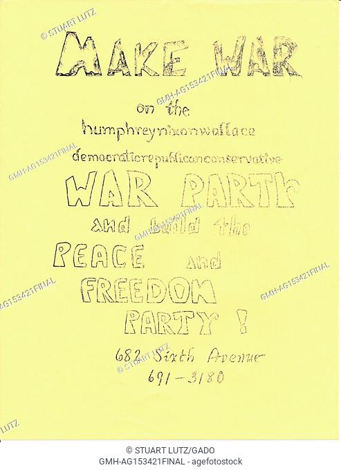 Hand-drawn leaflet from the Peace and Freedom Party against the Vietnam War, criticizing Richard Nixon, 1965