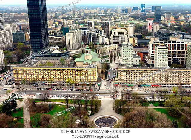 Panoramic view of city center of Warsaw, in front Park Swietokrzyski and Swietorzyska street, skyscraper in left up corner - Cosmopolitan Twarda 2/4