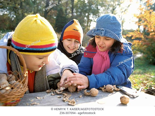 Two boy and one girl with nuts