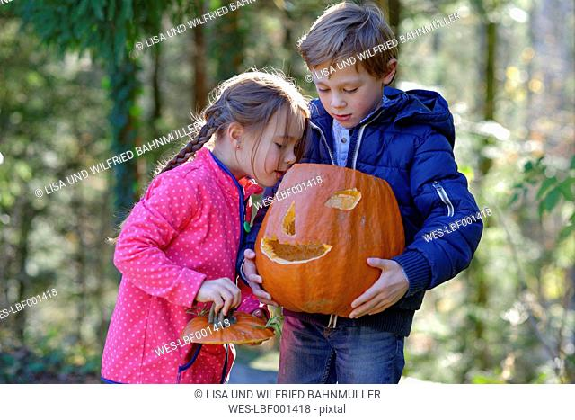 Boy and girl examining Halloween pumpkin in forest