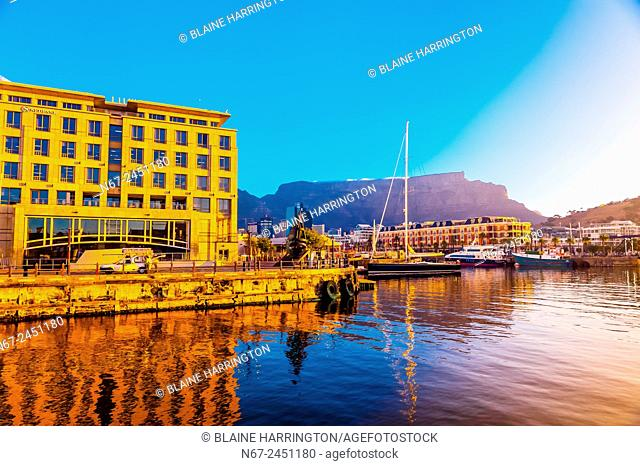 V&A Waterfront with Cape Grace Hotel and Table Mountain behind, Cape Town, South Africa
