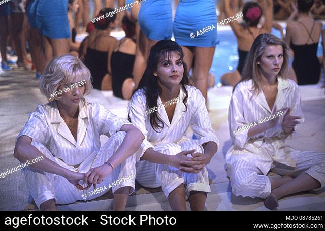 The Italian showgirls Antonella Elia, Miriana Trevisan, Laura Freddi..The television program, Non è la Rai celebrates 30 years since its first broadcast