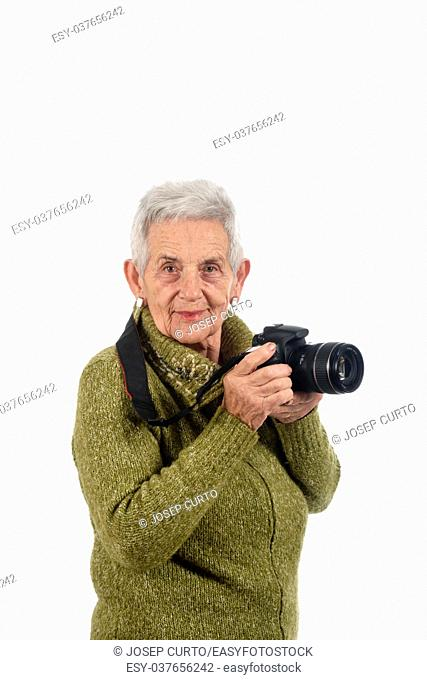 older woman with a SLR camera