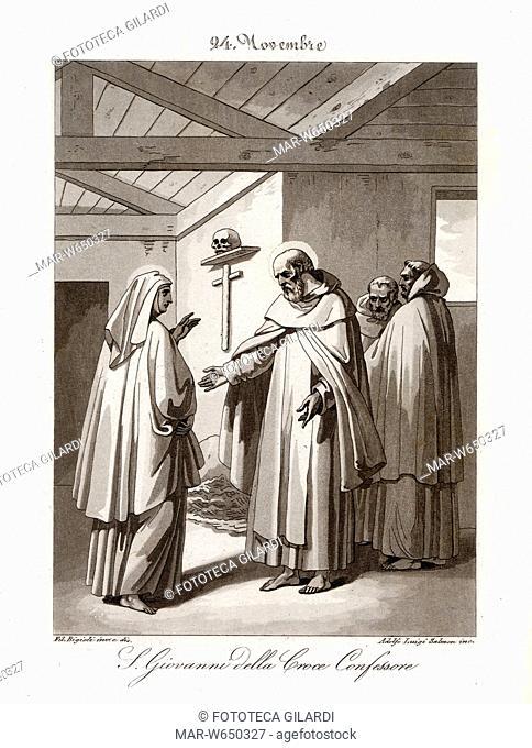 SAN GIOVANNI DELLA CROCE (1542-1591) Fondatore dei Carmelitani Scalzi, a colloquio con Santa Teresa d'Avila. Festa 24 novembre Litografia di Filippo Bigioli...