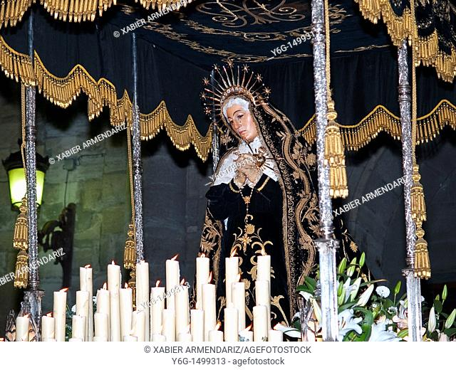 Virgin in procession during Holy Week to Bilbao, Biscay province, Basque country, Euskadi, Spain