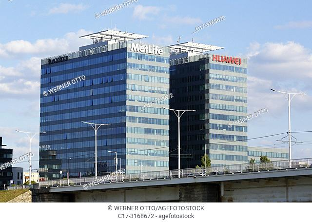 Budapest, Hungary, Central Hungary, Budapest, Danube, Capital City, Duna Tower Office Building, highrise, lettering and logo of MetLife